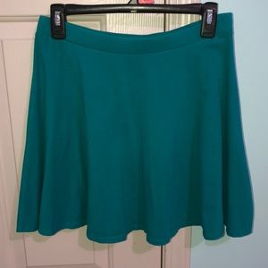 Teal colored skater skirt